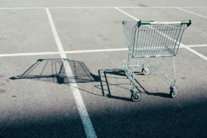 abandoned cart in parking lot